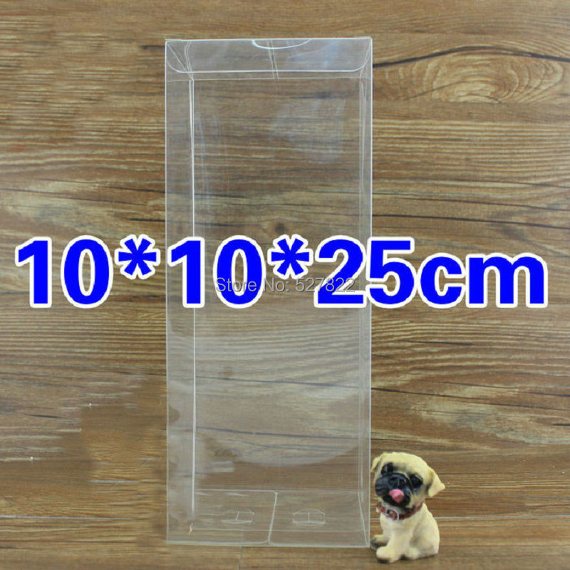 20PCS 10x10x25CM Clear PVC Package Boxes Wedding Favors Gift Box Baby Shower Sweet Candy Box Bridal Shower Gift Packaging