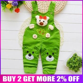 BibiCola תינוק בני מכנסיים 2018 אביב סתיו ילדי Cartoon ג 'ינס לילדים קטנים רצועת מכנסיים פעוט בני ביב סרבל מכנסיים