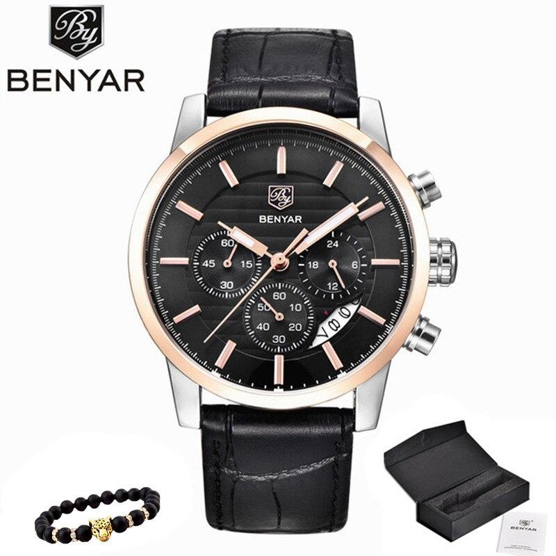 BENYAR Watch Men Top Luxury Brand Quartz Sport Watches Mens Fashion Analog Leather Male Waterproof Wristwatch reloj hombre 2019