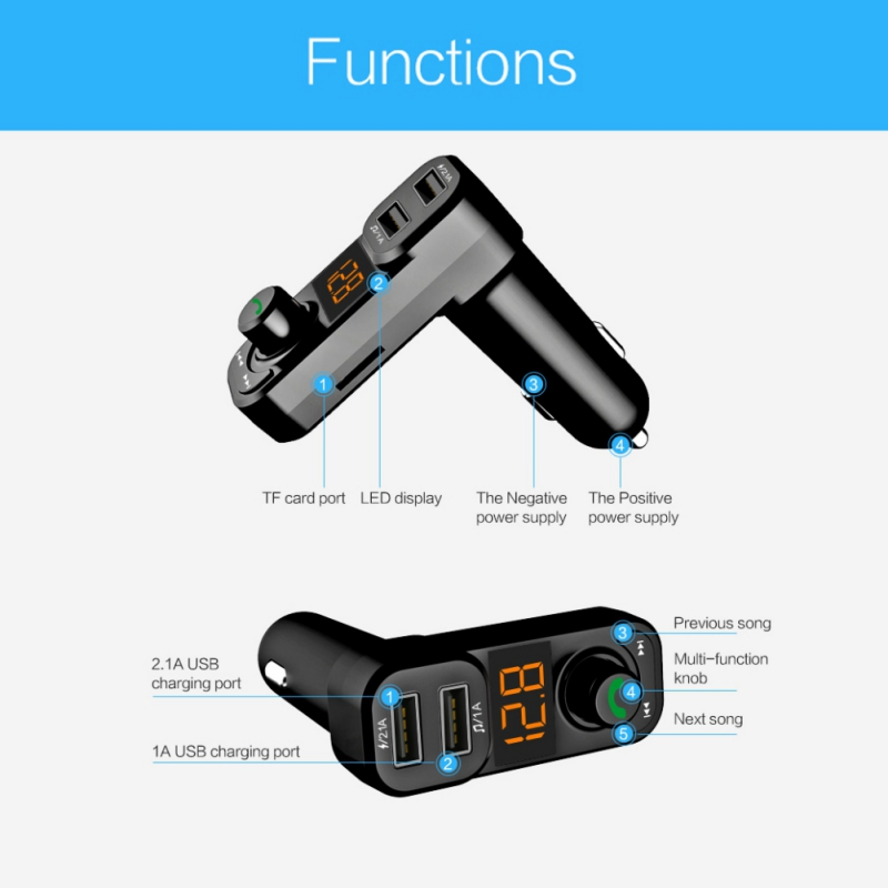 2018 Car MP3 Player Flash Driver Micro SD Card Bluetooth Handsfree FM Modulator Port Car Radio Transmitter with Dual USB Charger