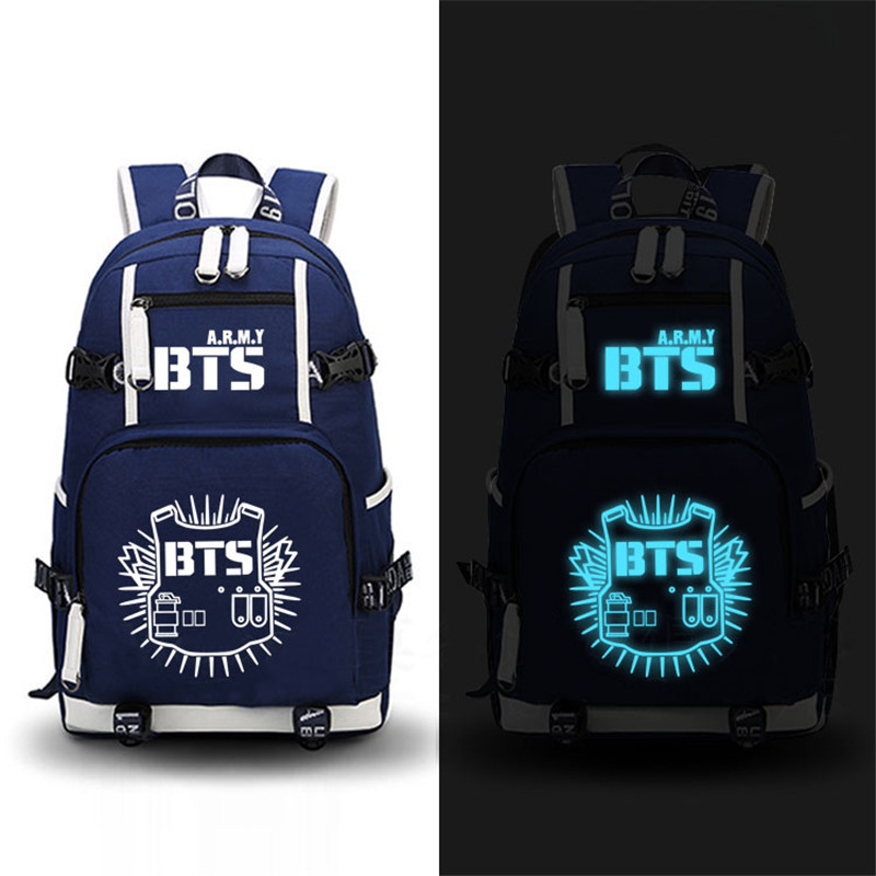 High Quality 2017 New Fashion BTS Printing Women Backpack Canvas School Bags for Teenage Girls Laptop Back Pack Mochila Feminina high quality anime death note luminous printing backpack mochila canvas school women bags fashion backpacks for teenage girls