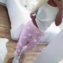 Trendy Good Quality Casual Women Printed Star Loose Pants Casual Long Trousers Sweatpants Pink Gray Fashion Accessory Gifts
