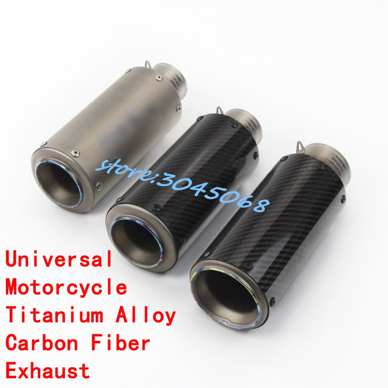 New High Quality Titanium Alloy 61mm 51mm Universal Motorcycle Exhaust Pipe GP Muffler Racing With Sticker For BMW S1000RR R1 R6 цена