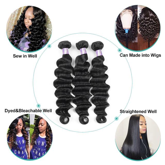 Loose Deep Wave Bundles Peruvian Hair Bundles Human Hair Extensions