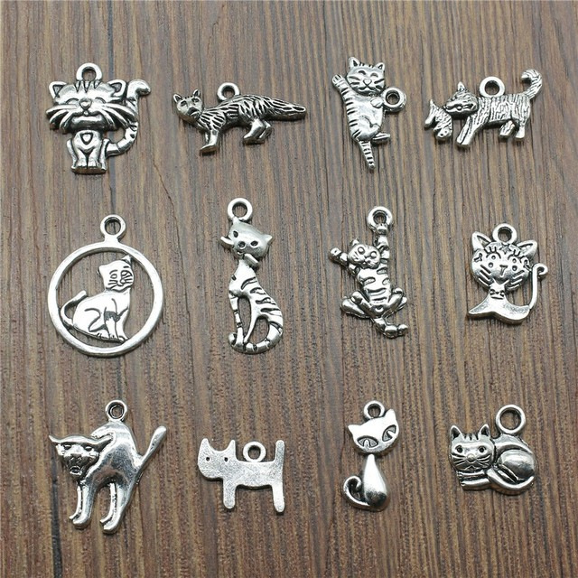 20pcs/lot Cat Pendant Charms Antique Silver Color Small Cat Charms Jewelry Diy Cat Charms For Bracelet Making