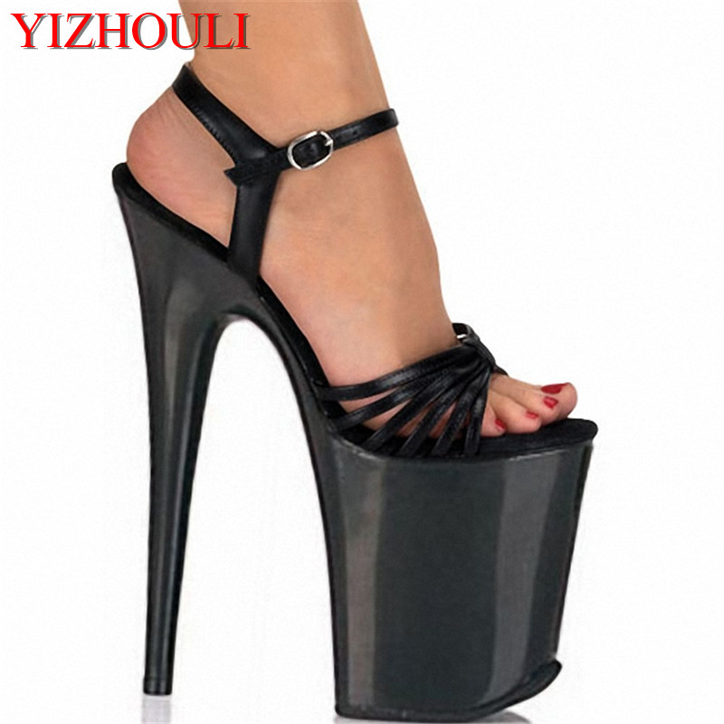 shipping black strap unusual 8 Inch Heel Sexy Shoes Platforms sandals sexy clubbing high heels 20cm Exotic Dancer shoes 20cm unusual high heel shoes silver 8 inch high heel gladiator sandals crystal platform slippers made in china sexy rome shoes