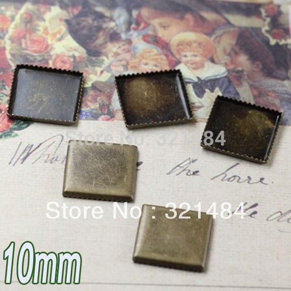 500 шт античная латунь/бронза 10 мм квадратный Кабошон Установка основа Подвески заготовка с плоской гранью