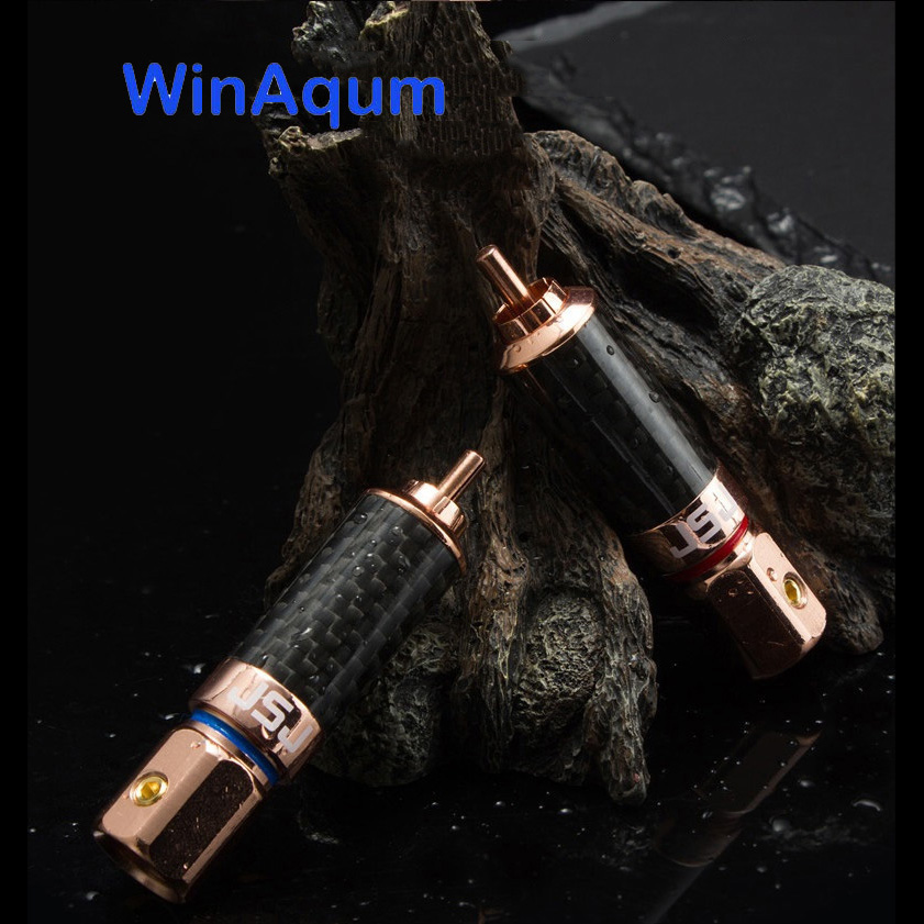 WinAqum Gold plated RCA Plug Self-Locking Solder  RCA Coaxial Chassis Panel Mount Male Socket Metal Connector
