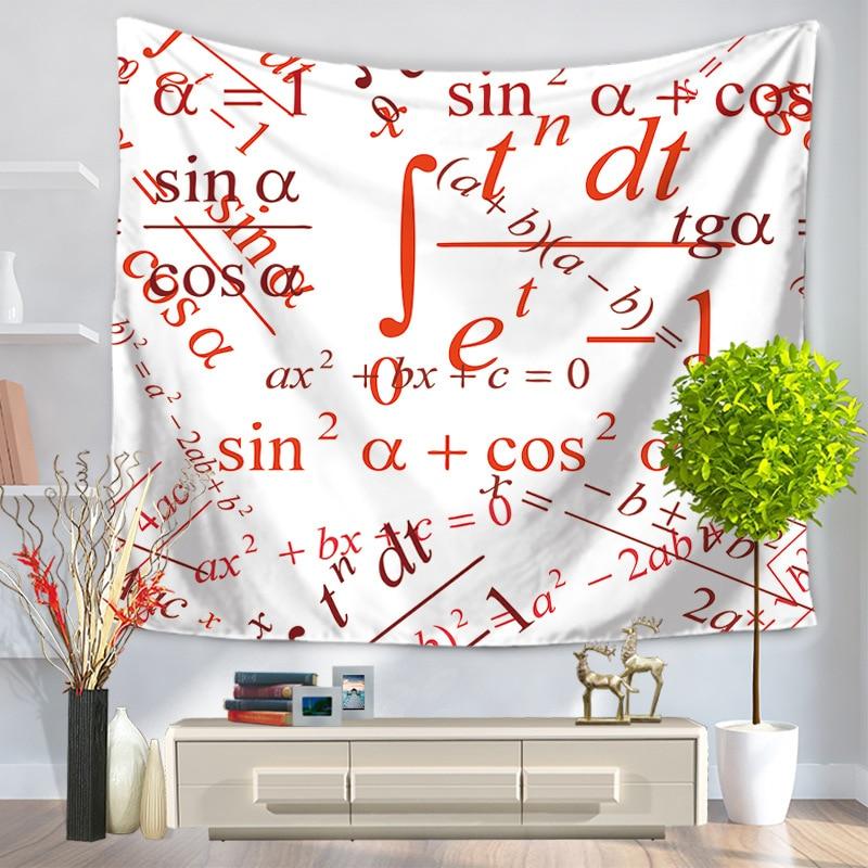 הבית דקורטיבי קיר תלוי שטיח מלבן שטיח כיסוי המיטה GT1007 דפוס דיגיטלי נוסחה מתמטית-בשטיחי קיר דקורטיביים מתוך בית וגן באתר