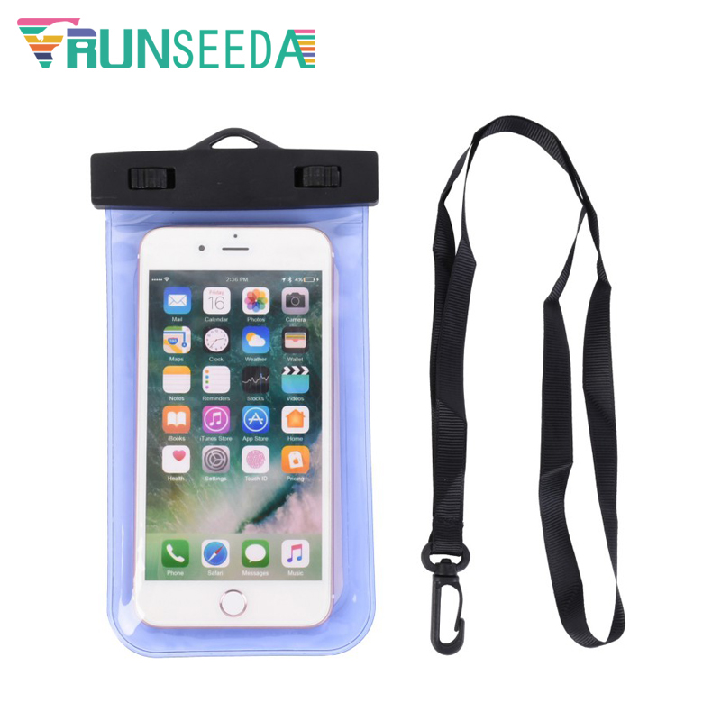 Runseeda Lanyard Swimming Bag Waterproof Mobile Phone Pouch Smartphone Sealed Pack Swimming Pool Beach On Sea Diving Storage Bag