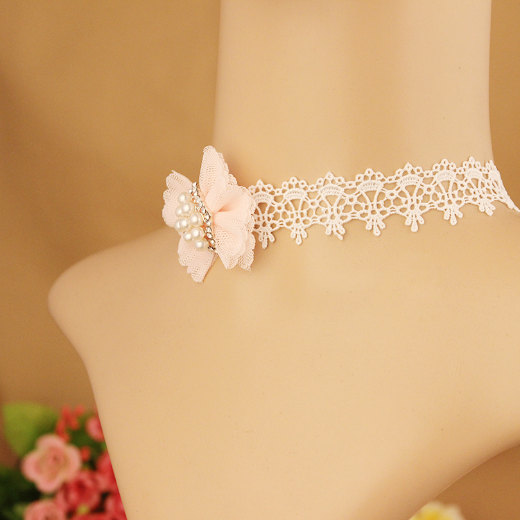 12 pcs/lotFashion jewelry White hollow lace cloth tattoo choker Pink Bowknot Wit Imitation Pearl Strand necklace gift wholesale