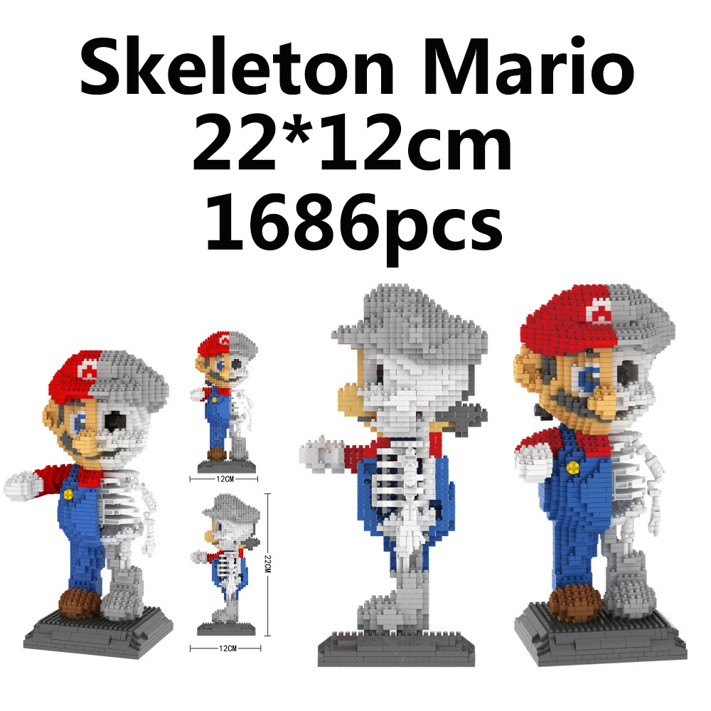 Super mario skeleton skull gothic little figures MOC building blocks bricks toys figures brinquedos speelgoes toys for children airsoft adults cs field game skeleton warrior skull paintball mask