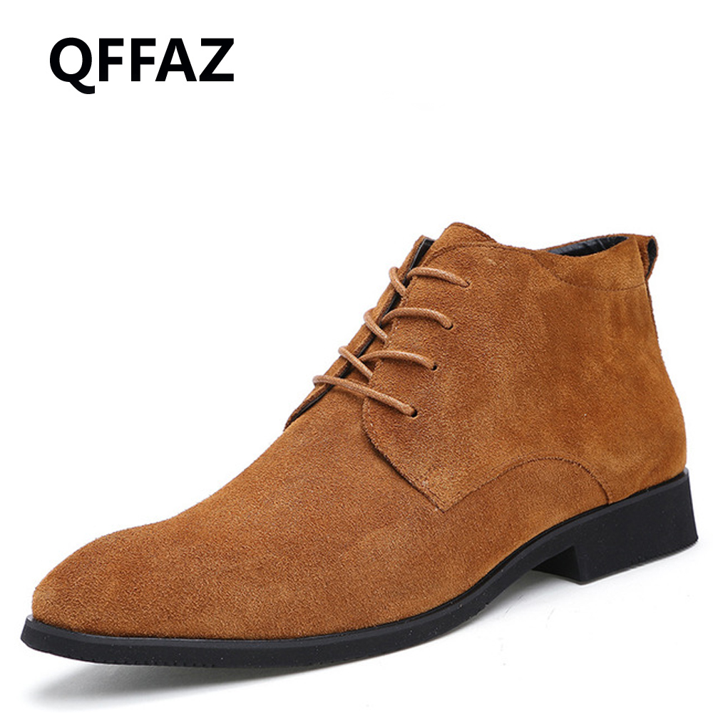 QFFAZ Genuine Leather Men Ankle Boots Breathable Men Leather Boots High Top Shoes Outdoor Casual Men Winter Shoes Botas Homme