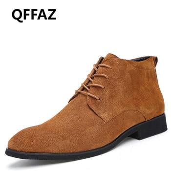QFFAZ Prawdziwej Skóry Mężczyźni Botki buty Oddychające Męskie Skórzane Buty Wysokiej Góry Buty Outdoor Przypadkowi Buty Zimowe Mężczyzn Botas Homme