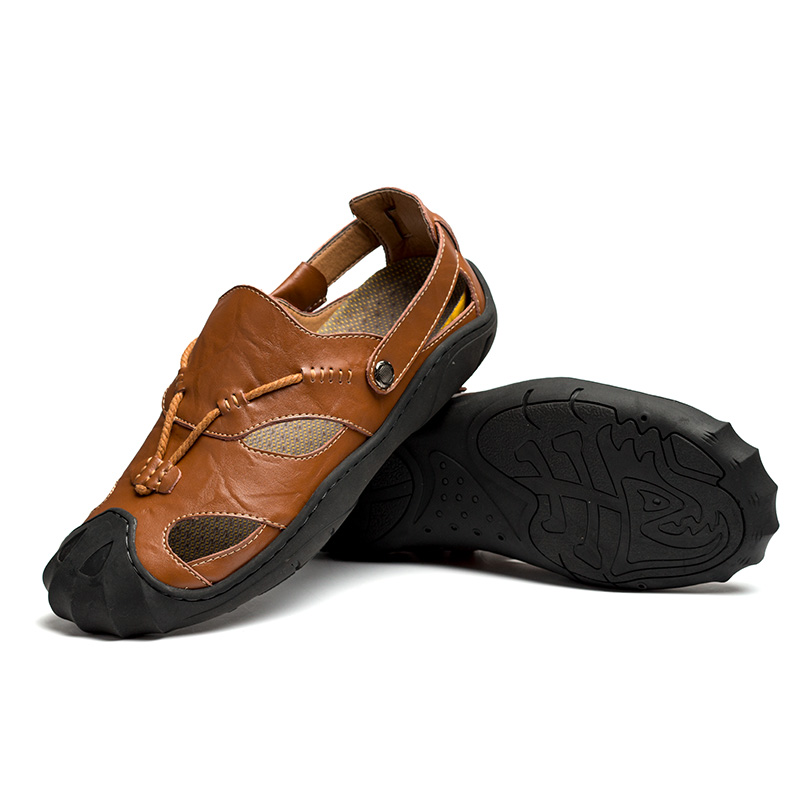 Summer leather non slip breathable men 39 s sandals casual slippers men 39 s beach shoes in Men 39 s Sandals from Shoes