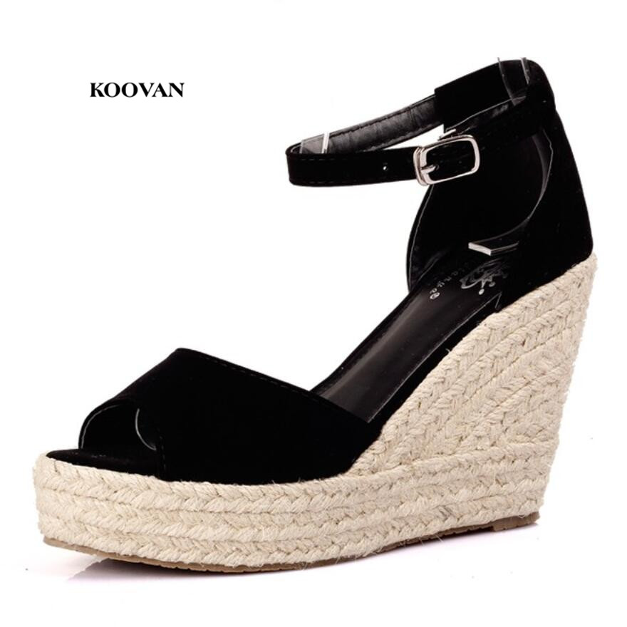 Koovan women sandals 2017 new summer fashion straw wedge for Fish head shoes