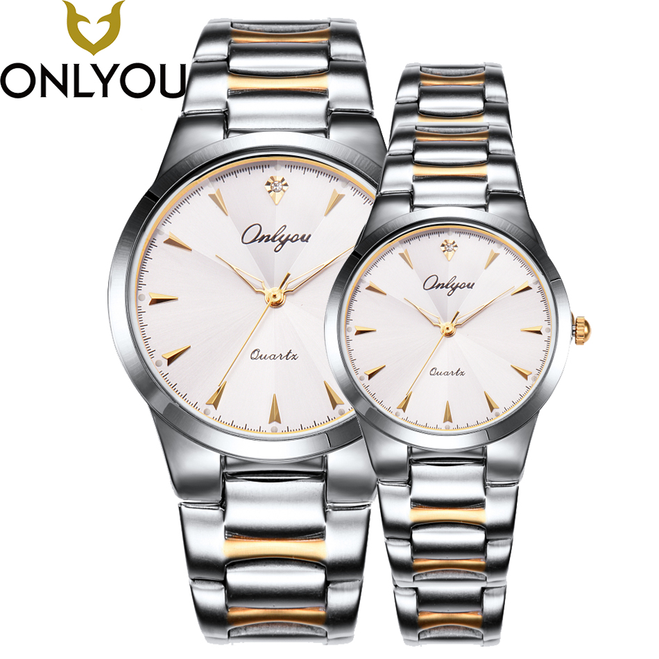ONLYOU Luxury Brand Quartz Watch Men's Sport Casual Business Stainless Steel Band Quartz-Watch Women Fashion Waterproof Clock onlyou luxury brand fashion watch women men business quartz watch stainless steel lovers wristwatches ladies dress watch 6903
