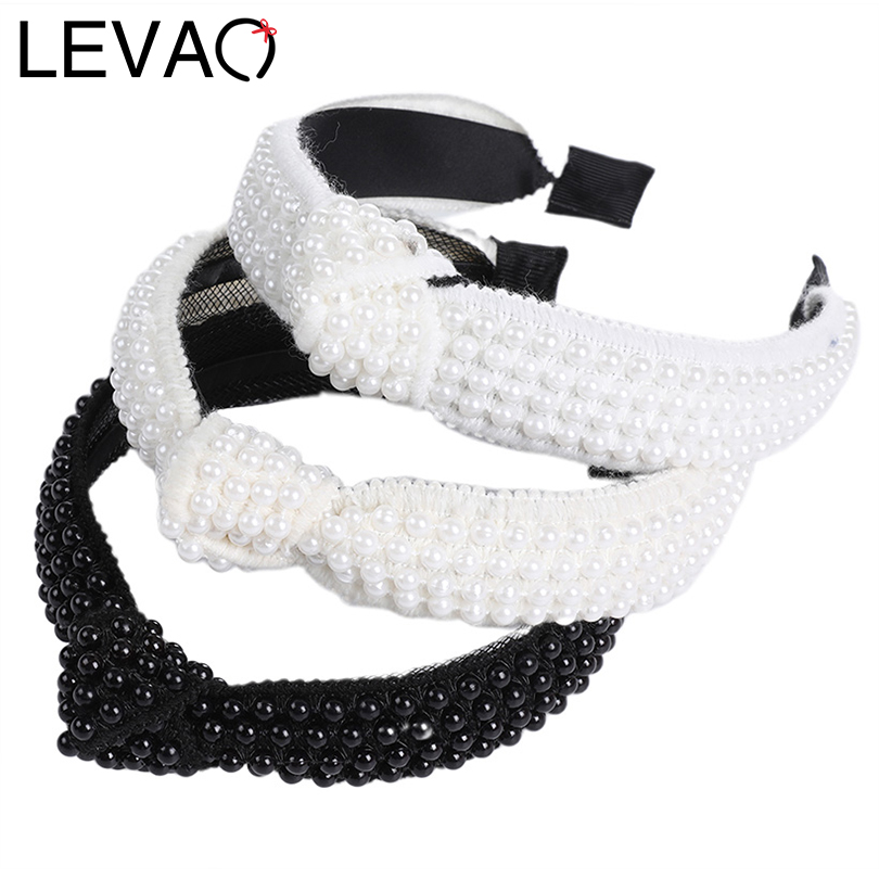 LEVAO Full Pearl Headband Knotted Hair Ornament Solid Color Bezel Turban Girls   Headwear   Headband Women Hairband Hair Accessories