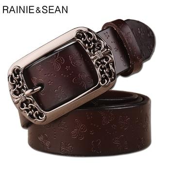 RAINIE SEAN Leather Embossed Belts Women Pin Buckle Belt Butterflly Carved Coffee Genuine Cow Female Trouser Strap