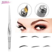 1 Pieces Transparent Microblading Pens Embroidery Henna Eyebrow Permanent Makeup For Needles Tattoo Manual