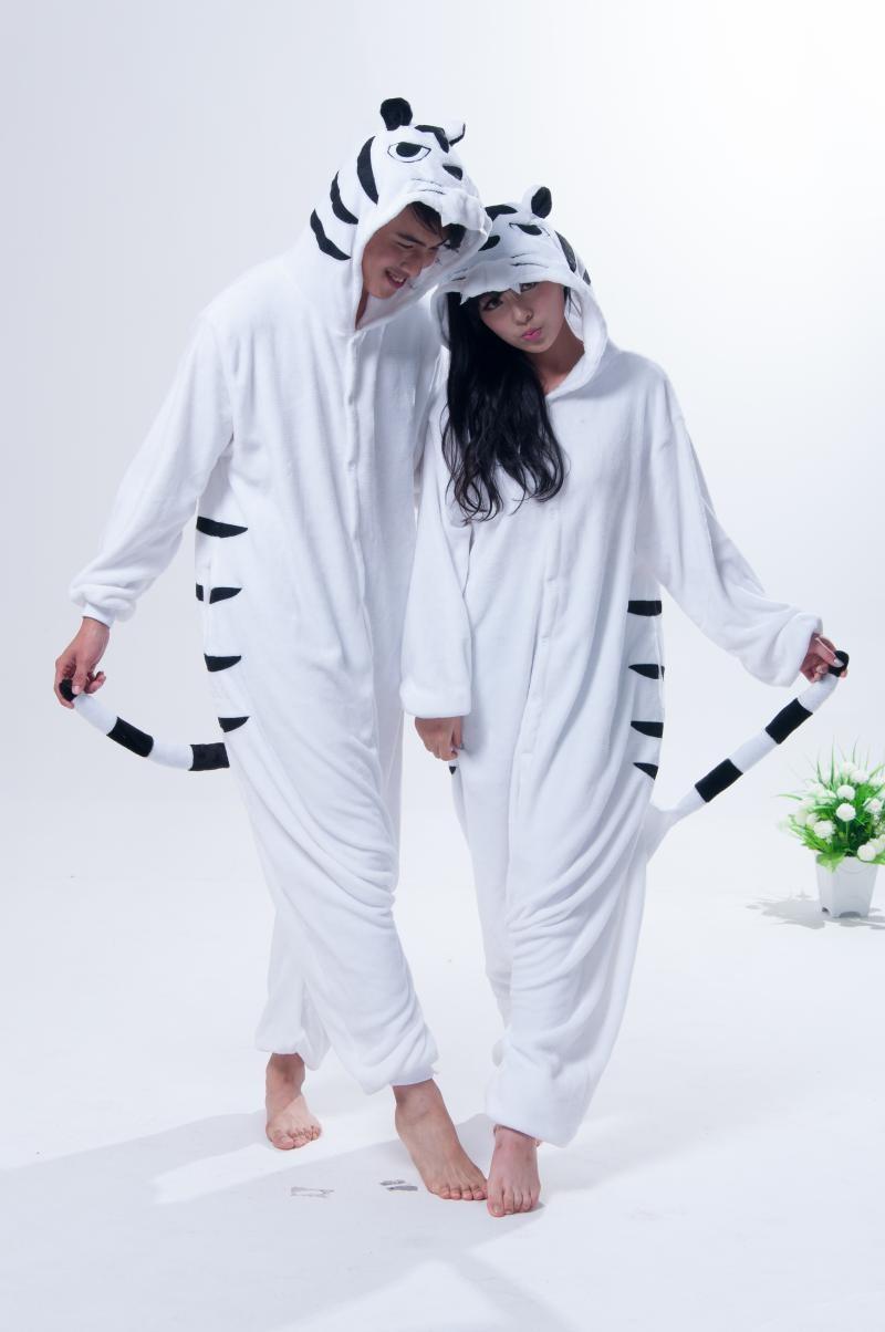 Животных косплей белый тигр костюм для взрослых Onesie пижамы для ... e9f9a5d24f0c6