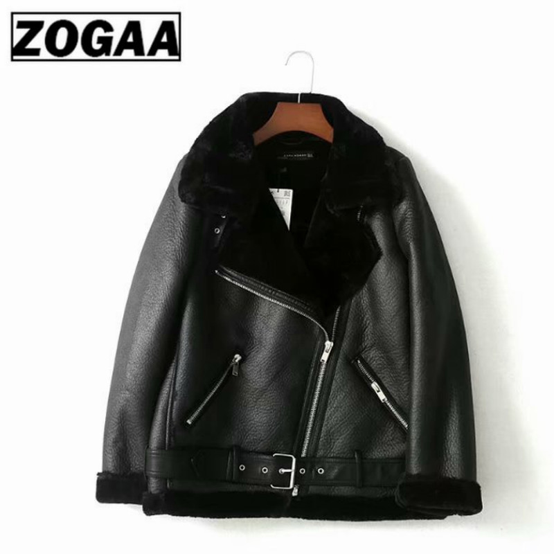 European American Autumn and Winter Lady Warm Leather Jacket Black Thickening Imitation Fur In Long Motorcycle Coat ZOGGA in Faux Fur from Women 39 s Clothing
