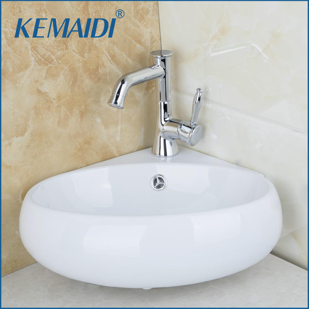KEMAIDI Bathroom Sink Ceramic WashBasin +Kitchen Chrome Brass Tap  Wash Basin Vanity & Swivel Faucet Bathroom Washbasin & Drain