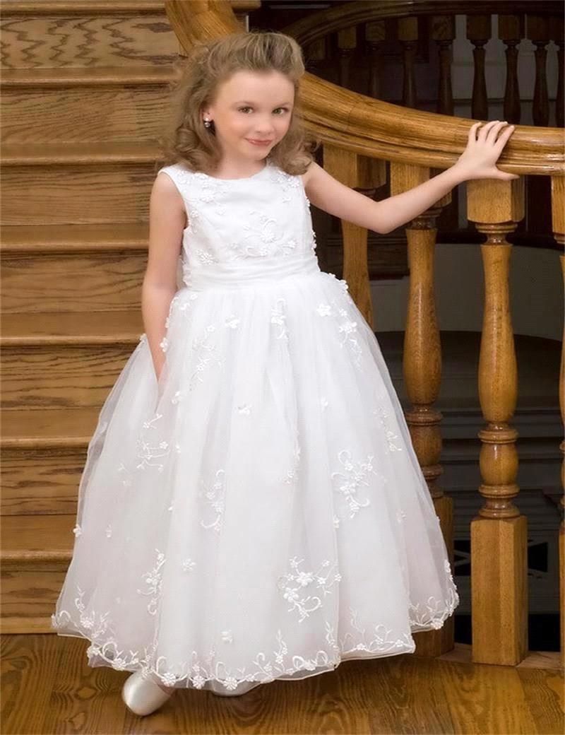 White Sleeveless Floor Length   Flower     Girl     Dresses   For   Girls   Wedding Gowns Kids Cute White Tulle Lace   Flower     Girl     Dress   2019