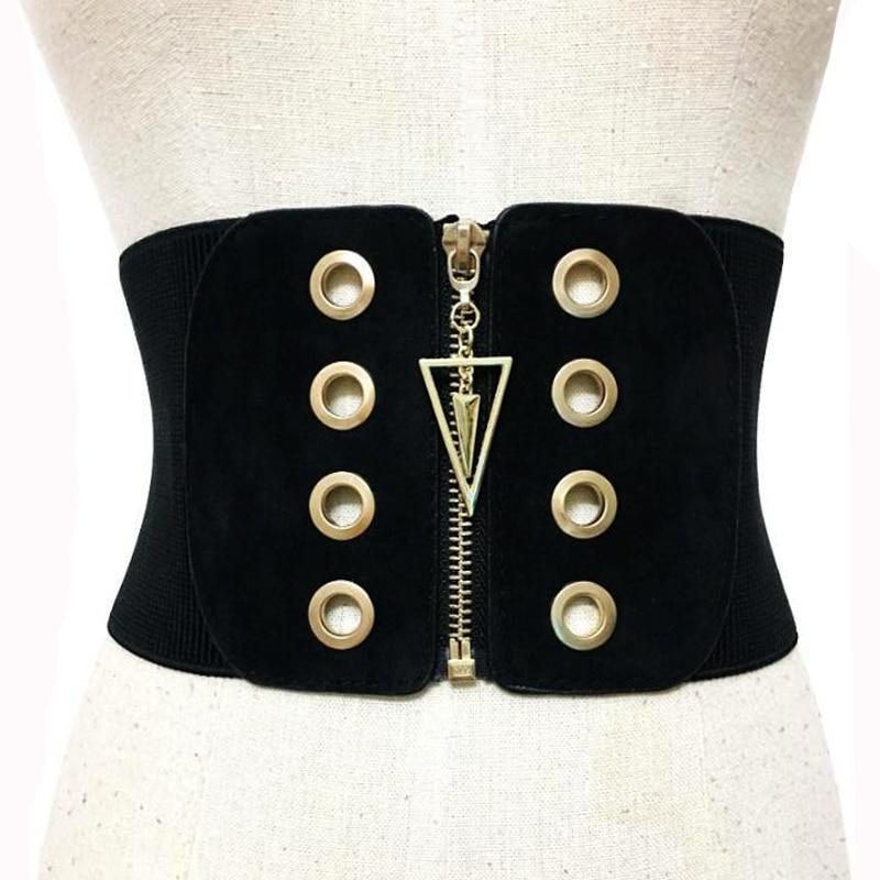 New Women Punk ultra wide   belt   Elastic slim corset body shaper black faux leather metal retro Punk Rivet Waist   belt   Cummerbund