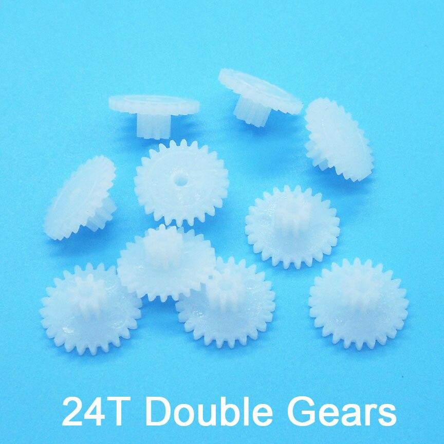 24 Teeth 0.5M Double Plastic Wheel Gear 24082A 24082B 24102A 24102.5A 24122B 24122.5A Gears Toy Acce