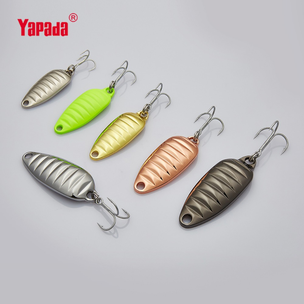 YAPADA კოვზი 010 Stone Shell 5g / 7g / 10g / 15g Multicolor 40mm / 46mm / 50mm / 60 mm Treble HOOK Metal Spoon Fishing Lures