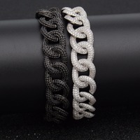 Hip Hop AAA Zircon Paved Bling Iced Out CZ Bracelets Black Silver Color Cuban Miami Link Chain Charm Jewelry Drop Shipping