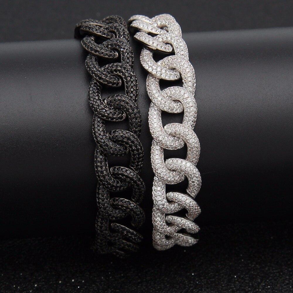 Hip Hop AAA Zircon pavé Bling glacé CZ Bracelets noir argent couleur cubaine Miami chaîne de breloques livraison directe de bijoux