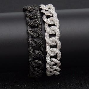 Image 1 - Hip hop aaa zircão pavimentado bling iced para fora cz pulseiras cor de prata preto cubano miami link corrente charme jóias transporte da gota