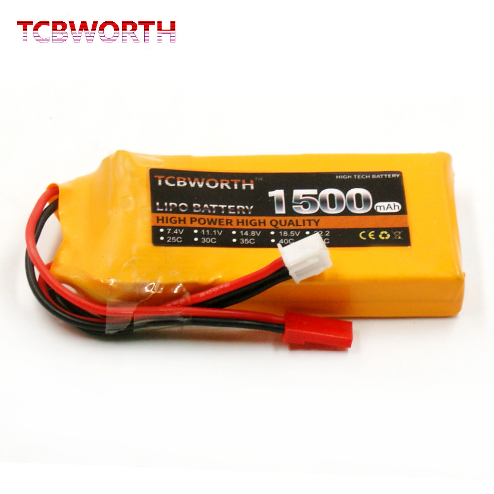 2PCS TCBWORTH RC LiPo battery 2S 7.4V 1500mAh 25C For RC Helicopter Airplane Drone Quadrotor High Rate RC Li-ion battery tcbworth 11 1v 3300mah 60c 120c 3s rc lipo battery for rc airplane helicopter quadrotor drone car boat truck li ion battery