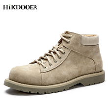 цены High quality Leather Men Boots Suede Dr Martin Boots shoes High Top Motorcycle Autumn Winter shoes Man Work Boots
