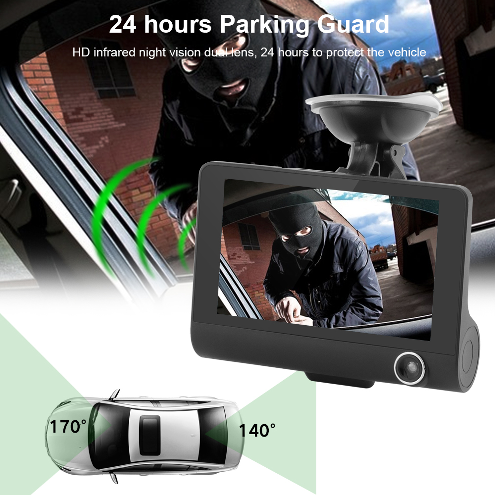 Image 4 - Car DVR Dash Camera Full HD 1080P 4.0 Inch Three Camera IPS Screen Car Camera Dash Cam Driving Video Recorder Car accessories-in DVR/Dash Camera from Automobiles & Motorcycles