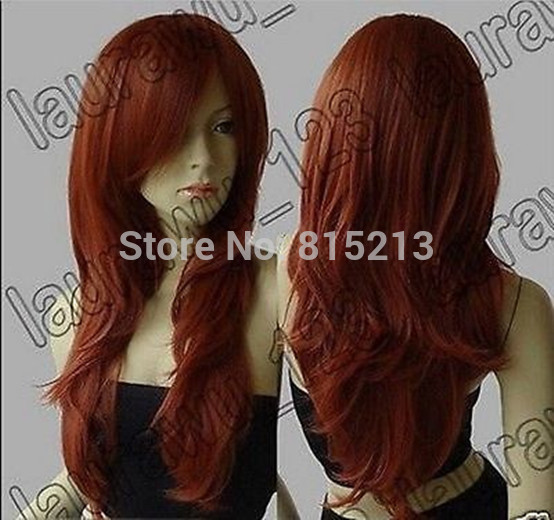 hot sell new - S626 hot ! Long Heat Resistant Big Wavy Dark Copper Red Cosplay Wig