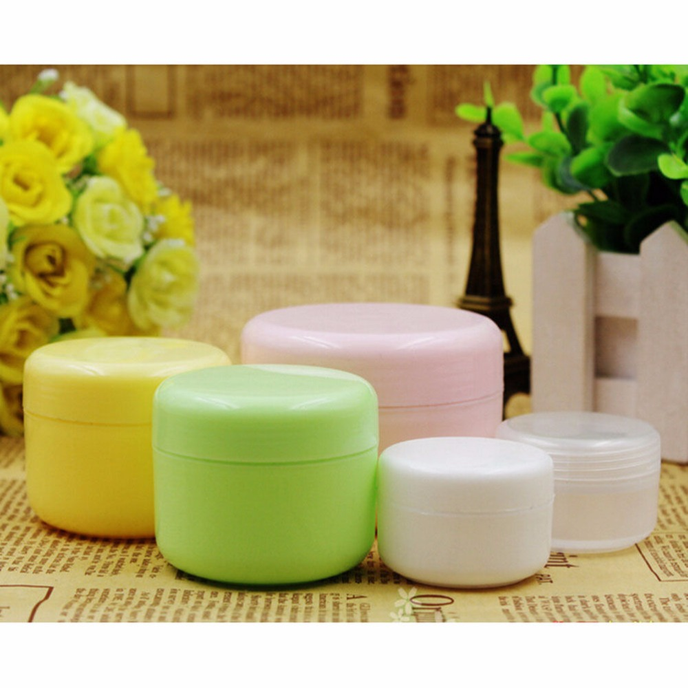 5PCS Refillable Bottles Travel Face Cream Lotion Cosmetic Container Plastic Empty Makeup Jar Pot 5 Colors 20/50/100g 5pcs 5g portable cosmetic empty jar pot eyeshadow case makeup face cream container box cosmetic clear bottles accessories pink