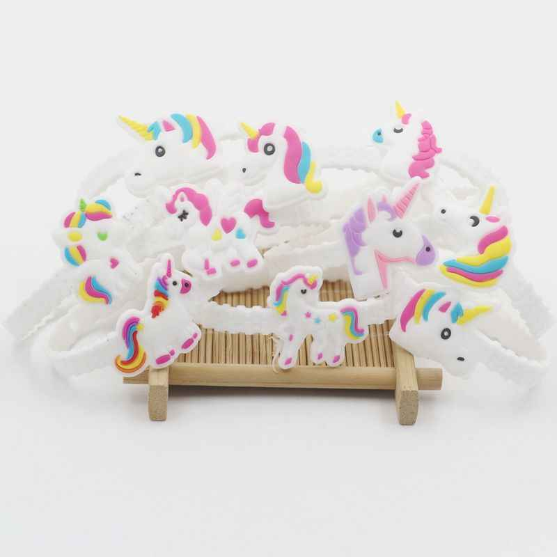 10pcs Adjustable Unicorn Wristband Child Toy Rings Unicorn Party Favor Birthday Party Decorations Kids Gifts