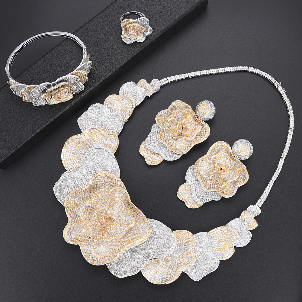 Luxe Fleur Cubique Zircone Africaine Nigérian Bijoux De Mariage Ensembles Indien Collier Boucles D'oreilles Bracelet Anneau De Mode Bijoux