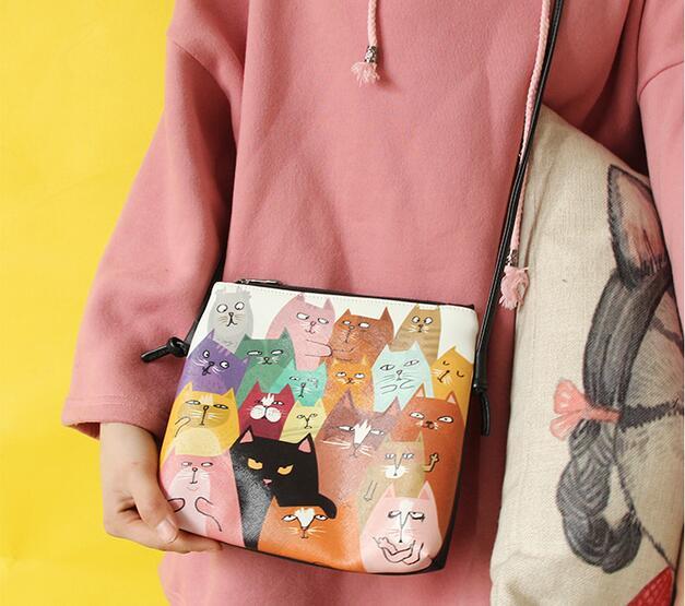 1 peça mini bonito dos desenhos animados óleo painting gato pata bolsa de ombro gato bonito simples mensageiro crossbody saco bolsa
