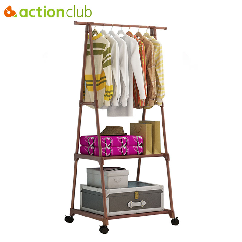 Actionclub Coat-Rack Hanging-Hanger Floor-Stand Triangle Simple Wheels Removable Stainless-Steel