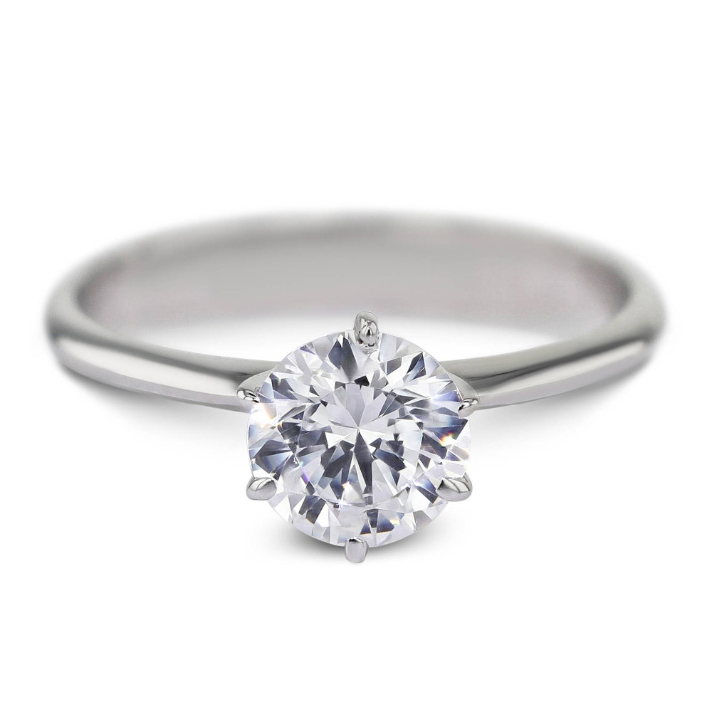 Solid 14k Gold Or Silver LMoissanite Engagement Round Brilliant Cut 2.0ct 8mm Lab Grow Diamond Ring Promising Ring For Women