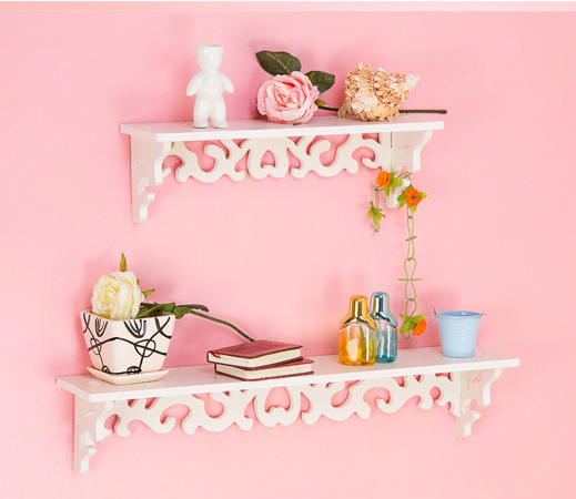 White Plastic Wood Wall Hanging Shelf Decoration Flower Rack Storage