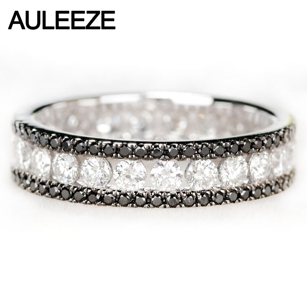 AULEEZE Luxury 1.6cttw Black White Real Diamond Ring Au750 18k White Gold Natural Diamond Wedding Engagement Ring Eternal Band black diamond cat hair ring