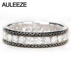 AULEEZE lüks 1.6cttw siyah beyaz gerçek elmas yüzük Au750 18k beyaz altın doğal elmas düğün nişan yüzüğü sonsuz bant