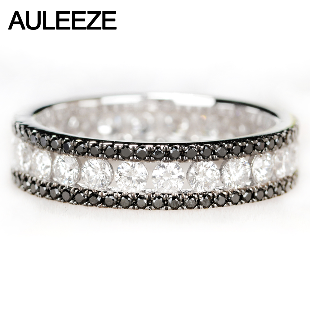 Auleèze luxe 1.6cttw noir blanc véritable bague en diamant Au750 18k or blanc diamant naturel bague de fiançailles de mariage bande éternelle