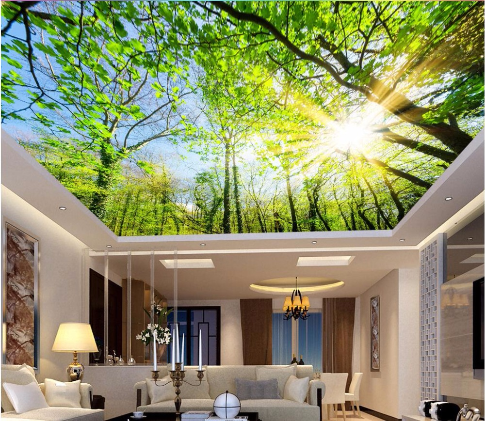 Custom photo 3d ceiling murals wall paper Contracted the sky tree decoration painting 3d wall murals wallpaper for walls 3 d stylish tree pattern photo wall sticker for livingroom bedroom decoration