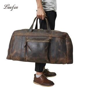 Image 2 - Big Capacity Men Travel Bag Thick Crazy Horse Genuine Leather Male Travel Duffel Extra Large Luggage Handbag Shoulder Bag Tote